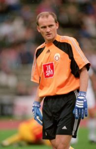 4 Aug 2000: Claudio Taffarel of Galatasaray in action during the Pre-Season Friendly Tournament match against Bayern Munich at the Olympic Stadium, in Munich, Germany. Bayern Munich won the match 3-1. Mandatory Credit: Ross Kinnaird /Allsport