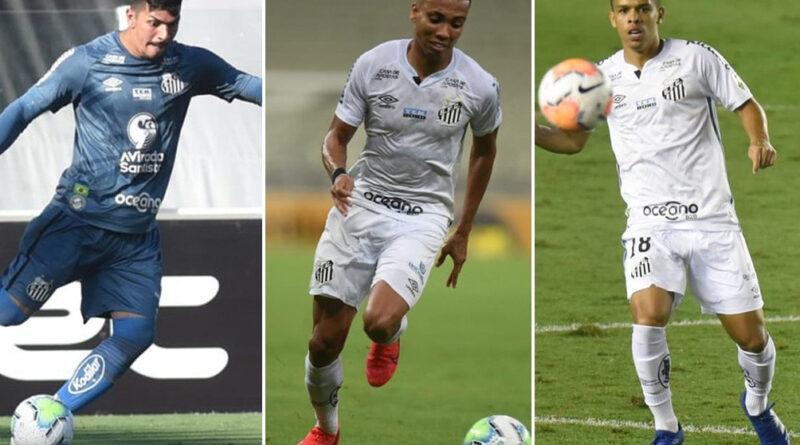 João Paulo, Madson e Sandry jogando pelo Santos.